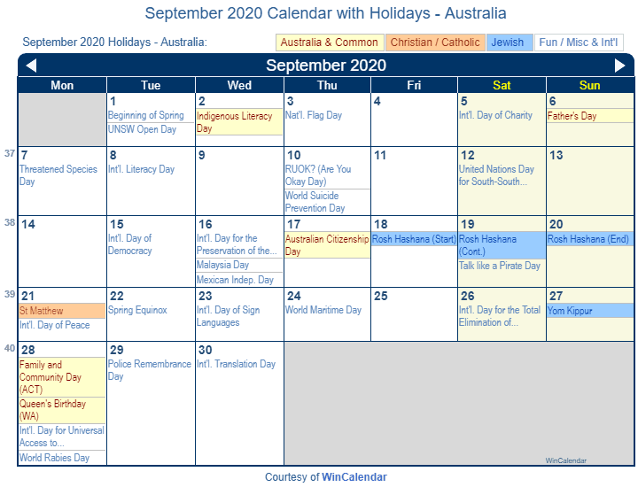 September 2020 Calendar with Australia Holidays (Including Christian and religious)