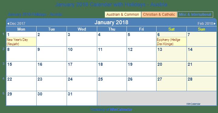Print Friendly January 2018 Austria Calendar for printing