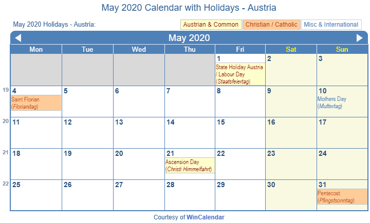 May 2020 Calendar With Holidays Print Friendly May 2020 Austria Calendar for printing