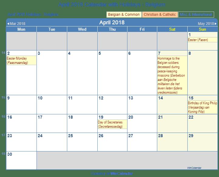april 2018 calendar with holidays