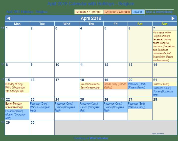 Belgium holidays 2019