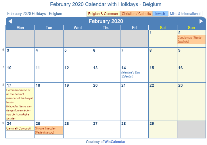 February 2020 Calendar With Holidays Print Friendly February 2020 Belgium Calendar for printing