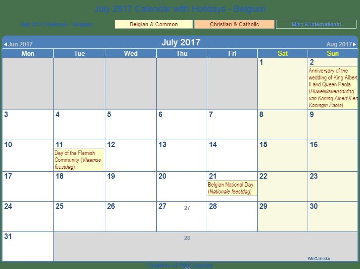 Print Friendly July 2017 Belgium Calendar for printing