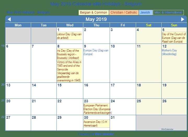 Print Friendly May 2019 Belgium Calendar for printing