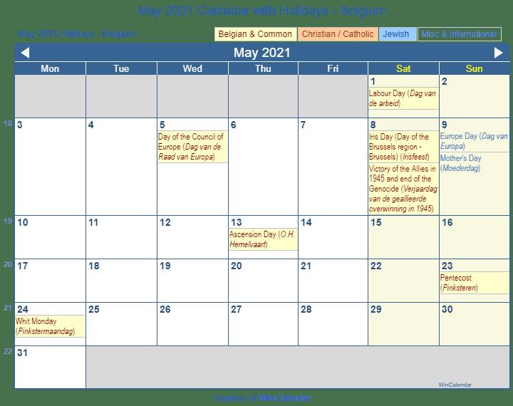 Print Friendly May 2021 Belgium Calendar for printing