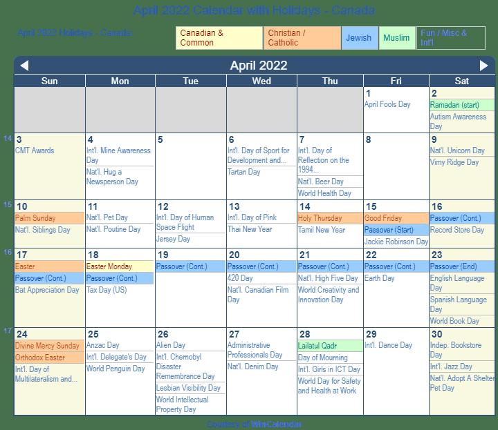 Print Friendly April 2022 Canada Calendar For Printing