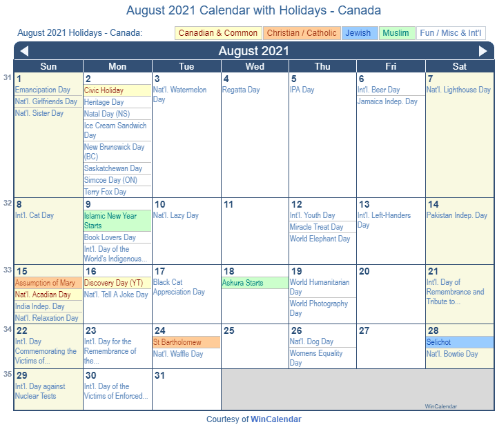 August 2021 Calendar with Canada Holidays (Including Christian and religious)