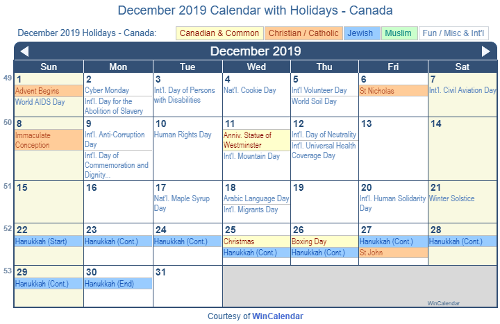 December 2019 Calendar Printable Wincalendar Print Friendly December 2019 Canada Calendar for printing