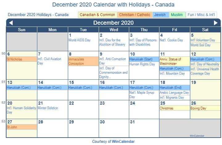Calendar December 2020.Print Friendly December 2020 Canada Calendar For Printing