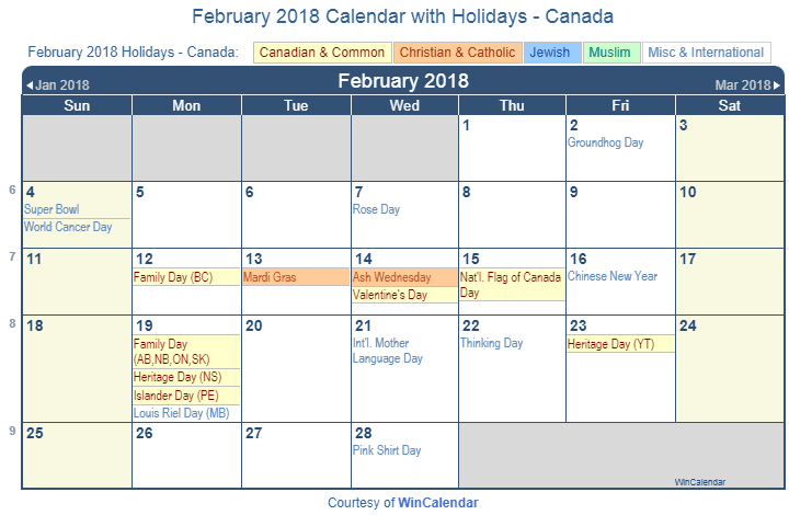 february 2018 calendar with canada holidays to print