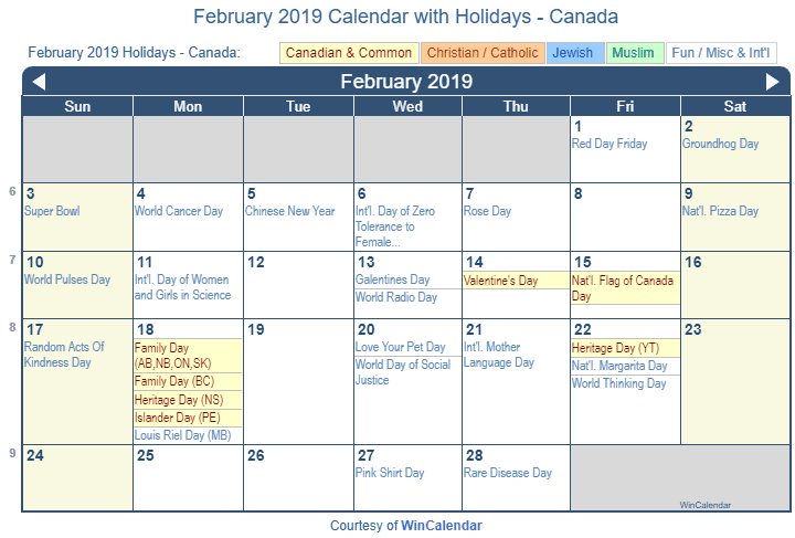 february 2019 calendar with canada holidays to print