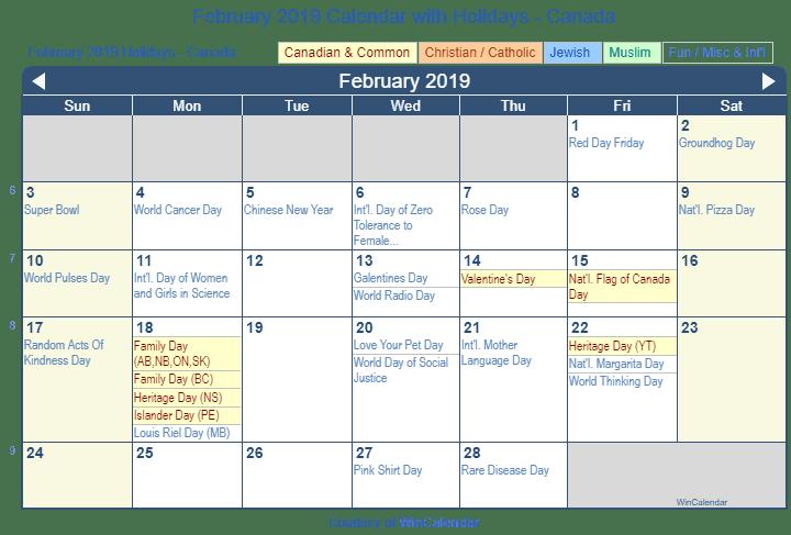 february 2019 calendar with canada holidays to print