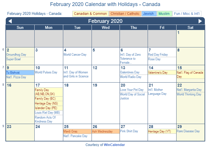 February 2020 Calendar with Canada Holidays (Including Christian and religious)