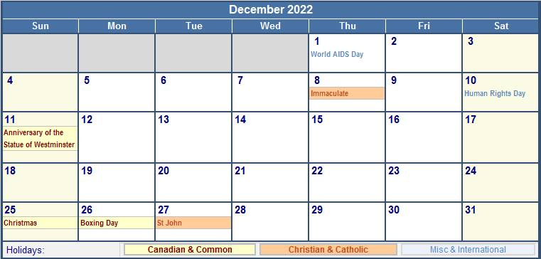 December 2022 Canada Calendar with Holidays for printing ...