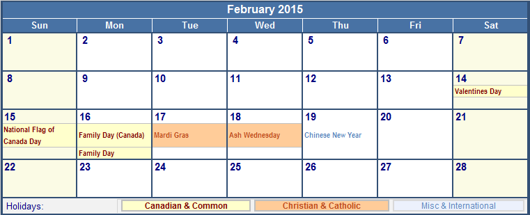 February 2015 Canada Calendar With Holidays For Printing Image Format