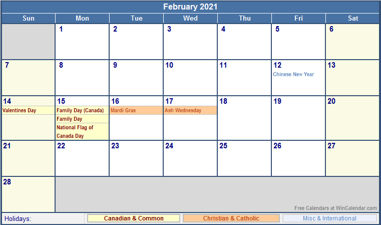 February 2021 Canada Calendar with Holidays for printing ...