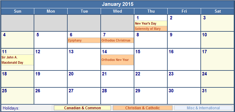 January 2015 canada calendar with holidays for printing for 2015 calendar template with canadian holidays