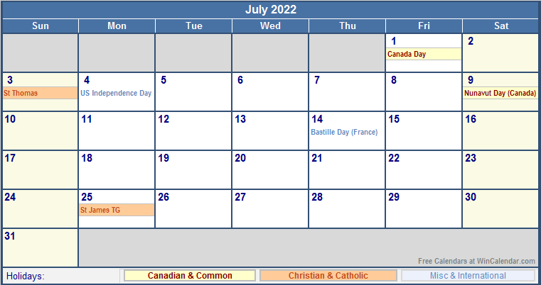 July 2022 Printable Calendar with Canada, Christian & International Holidays