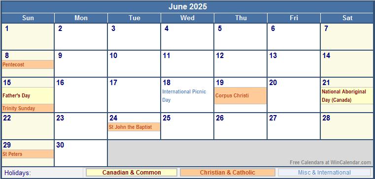 June Wincalendar : June canada calendar with holidays for printing