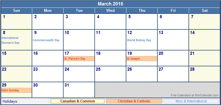 March 2015 canada calendar with holidays for printing for 2015 calendar template with canadian holidays