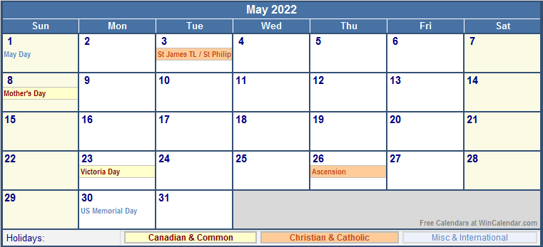 May 2022 Printable Calendar with Canada, Christian & International Holidays