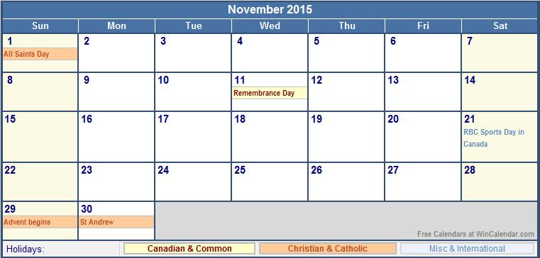 November Calendar 2015 With Holidays : November canada calendar with holidays for printing
