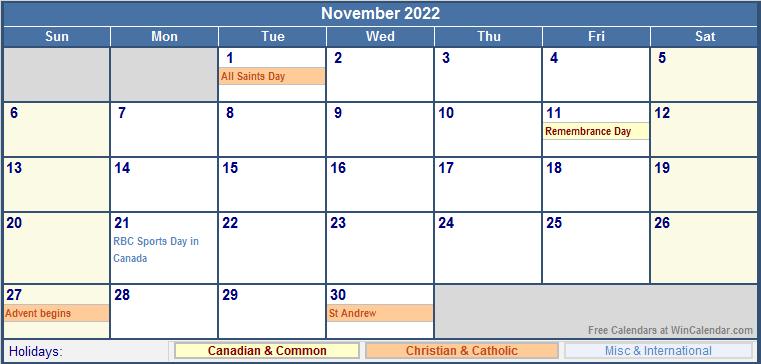 November 2022 Canada Calendar with Holidays for printing ...