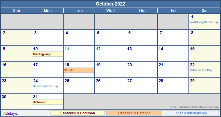 October 2022 Canada Calendar with Holidays for printing ...