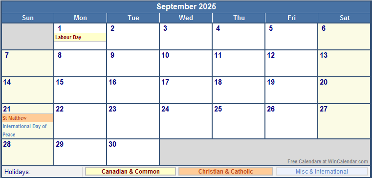 september 2025 canada calendar with holidays for printing image format