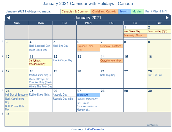 January 2021 Calendar with Canada Holidays (Including Christian and religious)