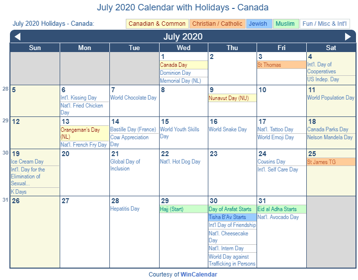 July 2020 Calendar with Canada Holidays (Including Christian and religious)