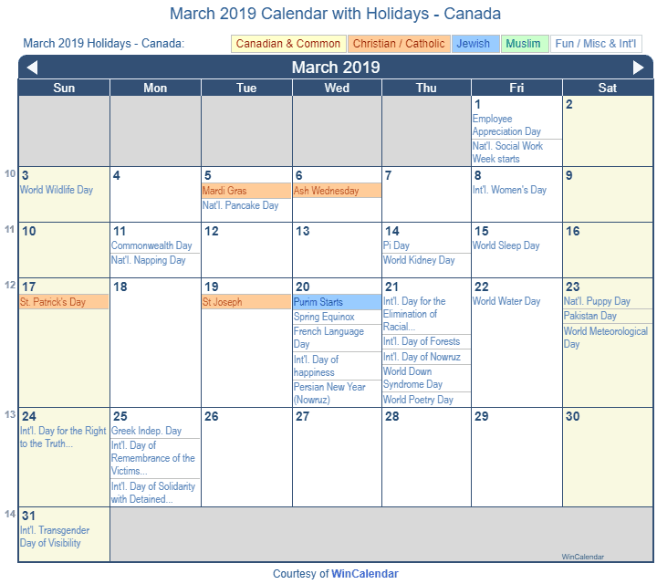 March 2019 Calendar with Canada Holidays to Print