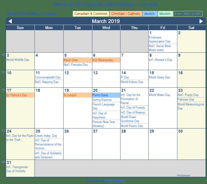 Print Friendly March 2019 Canada Calendar For Printing