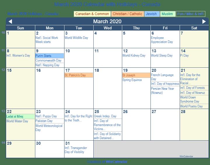 March 2020 Calendar With Holidays Print Friendly March 2020 Canada Calendar for printing