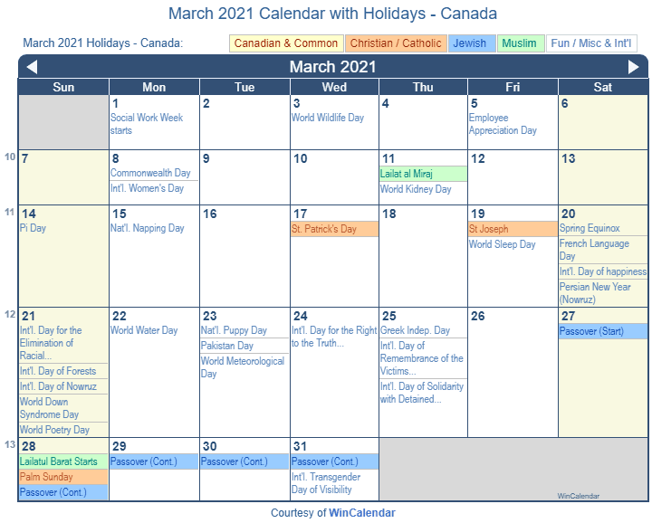 March 2021 Calendar with Canada Holidays (Including Christian and religious)