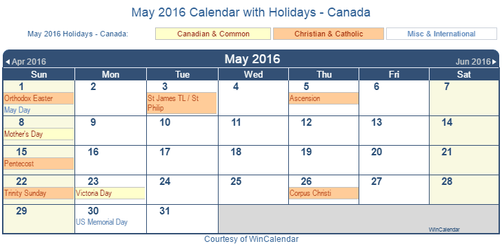 Print Friendly May 2016 Canada Calendar for printing