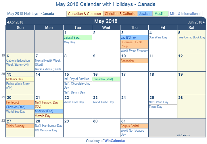 May Calendar Wincalendar : Print friendly may canada calendar for printing