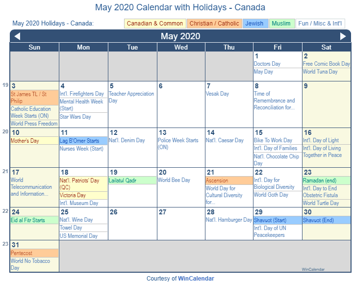 May 2020 Calendar with Canada Holidays (Including Christian and religious)