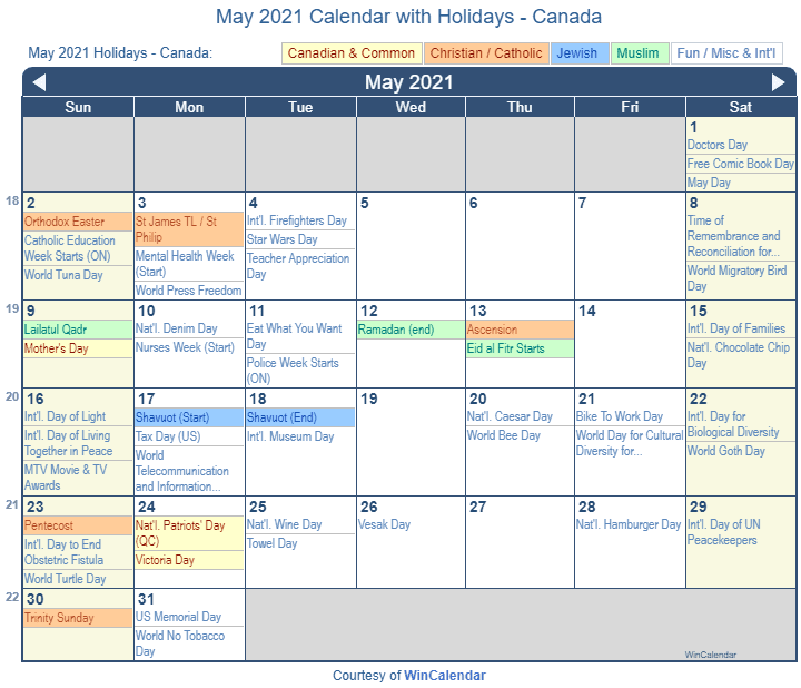 Print Friendly May 2021 Canada Calendar for printing