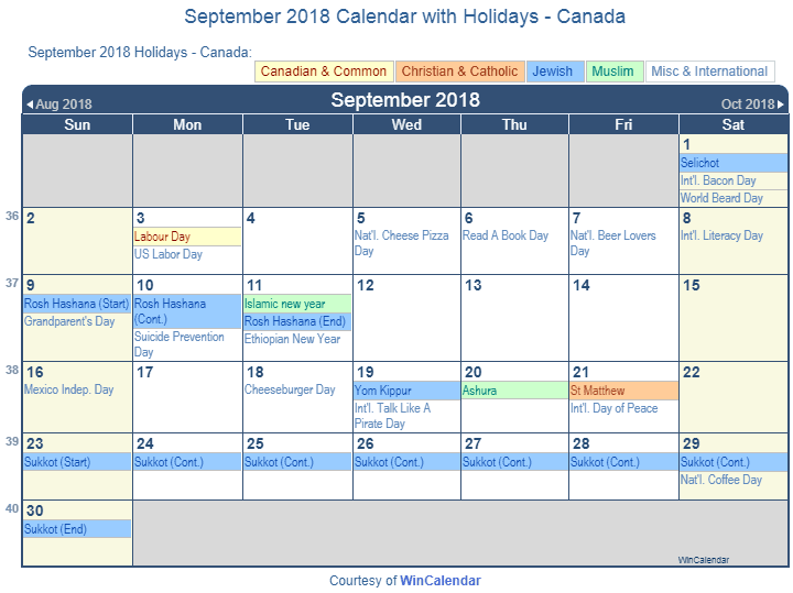 september 2018 calendar with canada holidays to print