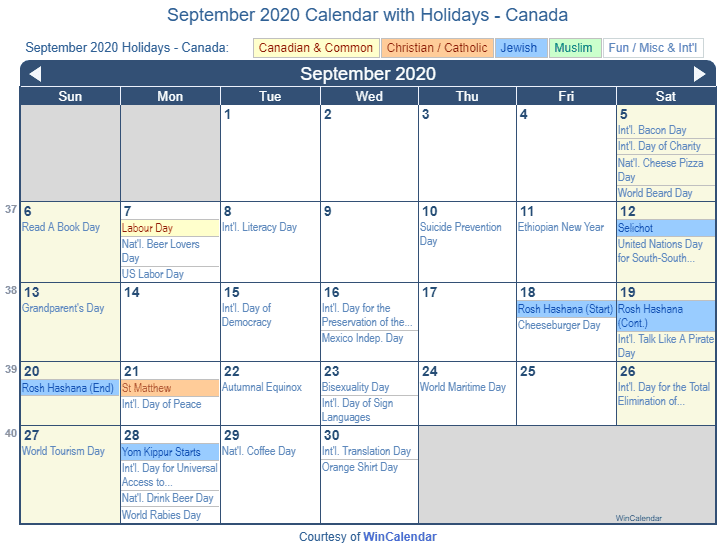September 2020 Calendar With Holidays Print Friendly September 2020 Canada Calendar for printing
