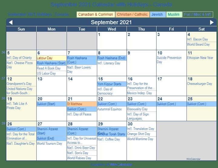 Print Friendly September 2021 Canada Calendar for printing