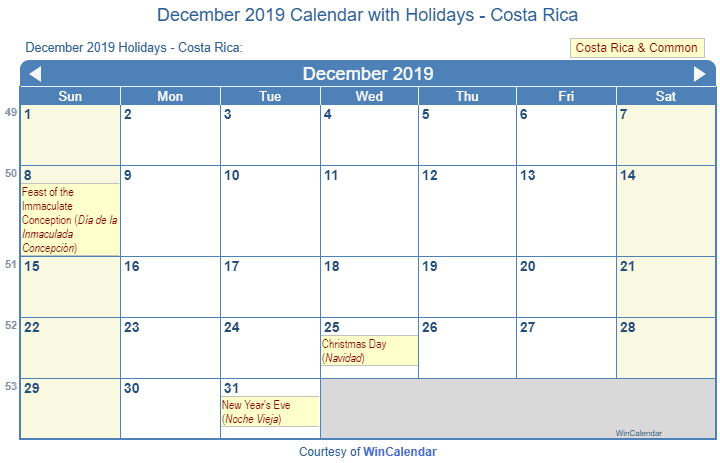 December 2019 Calendar Printable Wincalendar Print Friendly December 2019 Costa Rica Calendar for printing
