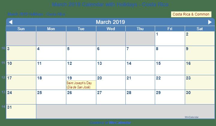 Print Friendly March 2019 Costa Rica Calendar For Printing
