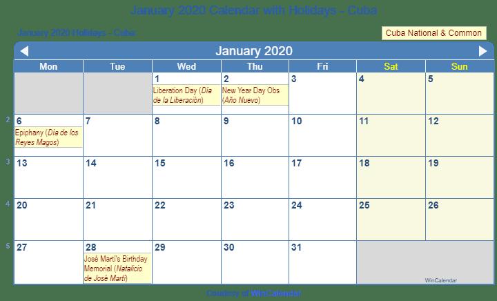 Wincalendarcom January 2020 Print Friendly January 2020 Cuba Calendar for printing