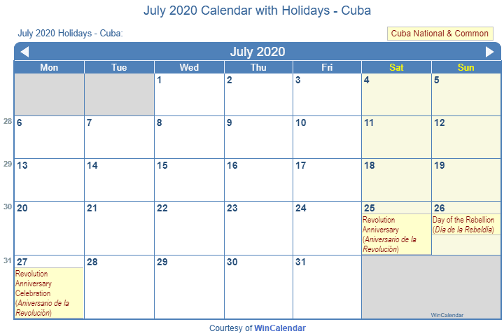 July Calendar For 2020.Print Friendly July 2020 Cuba Calendar For Printing