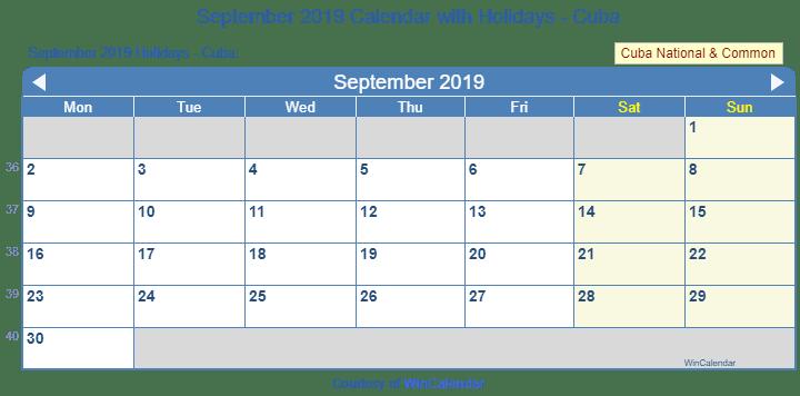 Print Friendly September 2019 Cuba Calendar For Printing