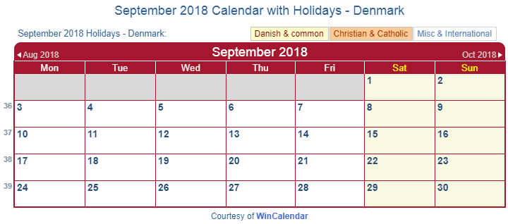 Print Friendly September 2018 Denmark Calendar for printing