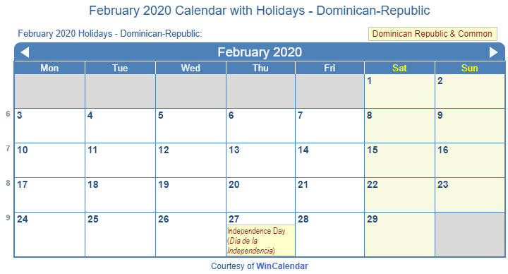 Print Friendly February 2020 Dominican-Republic Calendar for