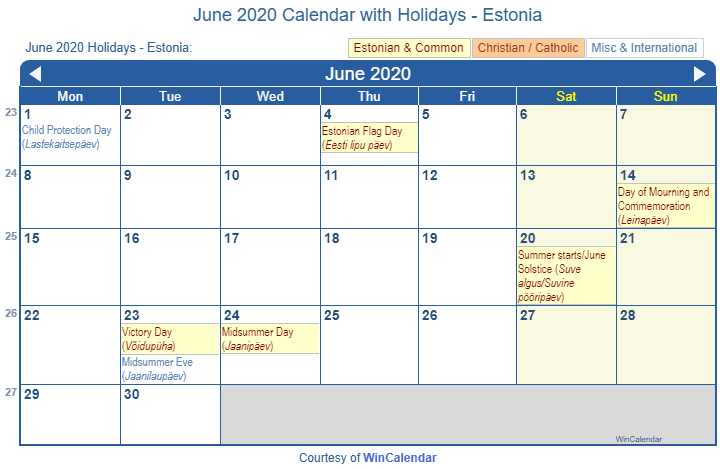 Print Friendly June 2020 Estonia Calendar For Printing